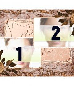 Collage von zwei Bildern mit einem Vintage-Zusammensetzung der Blätter, Blumen und Dekorationen Ocker