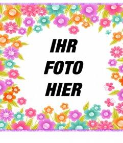 Rahmen mit bunten Blumen Ihre Fotos kostenlos