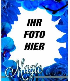 Fotorahmen der blauen Blumen wie Orchideen und Rosen, um Ihre Foto-Hintergrund gesetzt