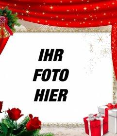 Online-Rahmen mit einem roten Vorhang und Weihnachtsschmuck