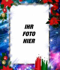 Fotorahmen für Weihnachten dekoriert und Sie mit Ihrem Foto anpassen
