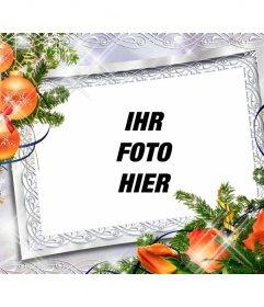Weihnachten Fotorahmen mit Kugeln und orangen Blüten