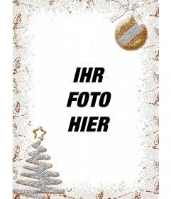 Vertikale Weihnachtsdekoration für Fotos mit einem Baum, der einen vertikalen Rahmen von Grau und Gold Farben mit einem Baum auf Ihre Fotos