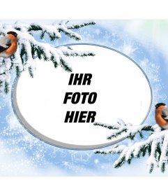 Snowy-Fotorahmen für personalisieren mit zwei Birdies