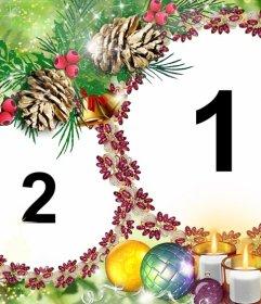 Weihnachten Rahmen für zwei Fotos auf einem lila Girlanden setzen