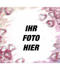 Hübsche rosa Herzen Rahmen. Ideal für Liebhaber. Sagen Sie, diese Person, wie viel Sie mit dieser Montage kümmern, können Sie eine Postkarte benutzerdefinierte Tage wie den Valentinstag
