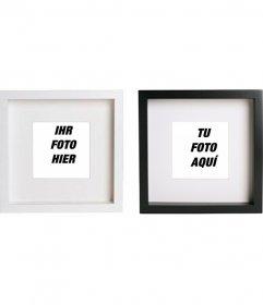 Neues Online-Collage mit 2 Bilderrahmen schwarzen und weißen Quadraten, um Ihre Bilder setzen und Text hinzufügen