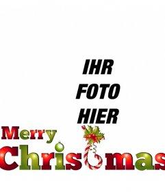 Setzen Sie den Text MERRY CHRISTMAS in grün und rot mit Weihnachten sehr zu Ihrem Foto online zu stellen