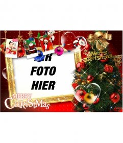 Schöne Weihnachtskarte mit Weihnachtsschmuck, Geschenke, Bilder von Santa Claus und Geschenke. Stoppen Sie Weihnachtskarten mit Ihrem Foto