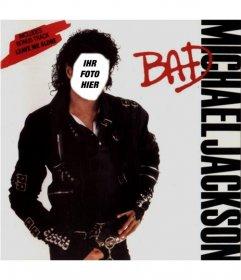 Seien Sie Michael Jackson auf dem Cover seines Albums BAD