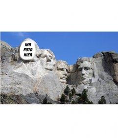 Freie Fotomontage Ihr Gesicht auf dem berühmten Werk von Mount Rushmoreen zu setzen