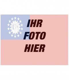 Setzen Sie die Flagge von Myanmar zusammen mit Ihrem Bild mit dieser Fotomontage
