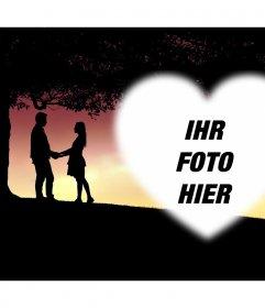 Karte mit zwei Liebhaber Ihr Foto innerhalb eines Herzens hinzuzufügen