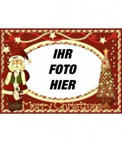 Weinlese-Weihnachtskarte mit Santa Claus Ihr Bild zu setzen