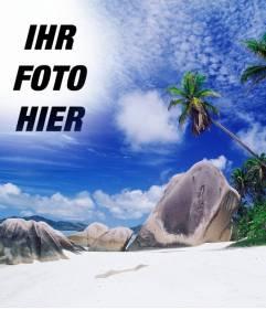 Fotomontage, um eine Collage mit Ihrem Foto und der Himmel dieses Inselparadies. Siehe Palmen hinter ein paar Felsen am Strand, einem türkisblauen Meer und blauer Himmel mit weißen Wolken des Patches