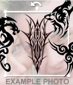 Tribal Tattoo-Aufkleber online auf Ihre Fotos setzen