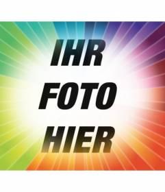 Photo Filter mit Regenbogenstrahlen Gradienten platzieren Sie Ihr Foto und Text kostenlos online