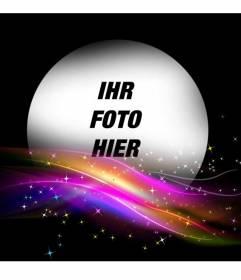 Schwarz Bilderrahmen mit einigen glowwing Lichter von hellen Farben auf dem Boden und ein rundes Loch, um ein Foto setzen