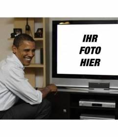 Fotomontage zu setzen Barack Obama mit Ihrem Foto, wo der Präsident auf einem Fernseher neben ihr erscheint