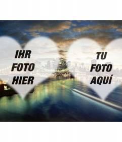Fotomontage mit einem Foto Brooklyn Bridge in New York und zwei halbtransparente Herzen zu setzen Sie Ihre Fotos