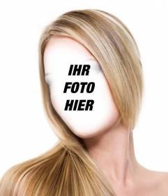 Fotomontage gerade gestreift bekommen blonde Haare, ohne in den Salon und kostenlos