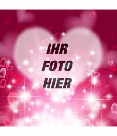 Liebe Bilderrahmen mit herzförmigen hellen pinkfarbenen Hintergrund mit funkelt und Herzen, um das Foto in der Mitte und einen Text setzen