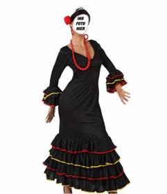 Fotomontage, wo Sie Ihr Gesicht auf einem Bild von einem Sevillaner Tänzer setzen können