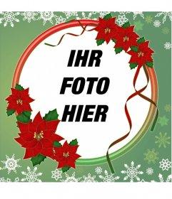 Fotorahmen dekoriert mit Weihnachtsblumen