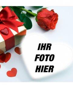 Lovecard in denen Theres ein Geschenk, Herzen und eine Rose. Sie können Ihr Bild in einem Herz gelegt