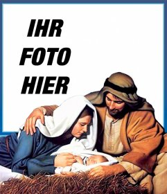 Jesus Manger Weihnachtskarte zum Hochladen Ihres Fotos