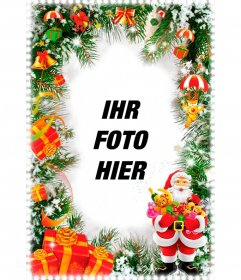 Vertikale Weihnachtskarte mit Santa