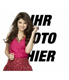Montieren Sie Bilder, um ein Foto entlang der berühmten Schauspielerin und Sängerin Selena Gomez schreiben