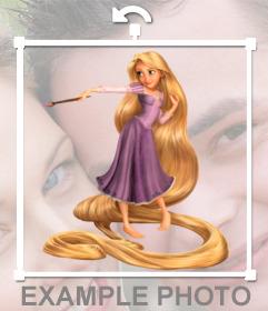 Aufkleber einzulegen, um die Prinzessin Rapunzel auf Ihre Fotos