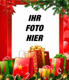Weihnachten Rahmen mit vielen Geschenken, mit Ihrem Foto zu personalisieren