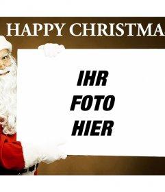 Fotomontage zu erstellen, um diese Spaß Weihnachts wo der Weihnachtsmann das Foto erscheint Halten Sie eine Speicherkarte laden und haben Sie an Ihre Lieben schicken können und wünschen ihnen ein frohes Weihnachtsfest. Dieser Effekt ist kostenlos und Sie können es mit jedem Bild zu ändern
