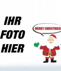 Fotomontage von Santa Claus sagen wünschen Ihnen frohe Weihnachten. Um mit Ihrem Foto zu tun