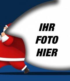 Weihnachtskarte, um Ihr Bild mit Santa Claus mit einem Sack, in dem Sie ein Bild hinzufügen