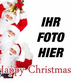 Karte zu Weihnachten, in der drei Weihnachtsmann wünschen ein frohes Weihnachtsfest und Sie können Ihr Foto gratulieren