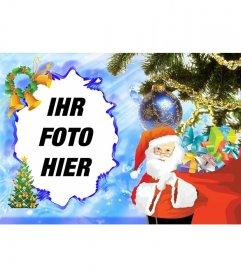 Illustrated Weihnachtskarte mit Santa Claus Ihre Fotos online