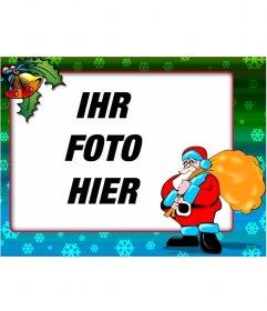 Weihnachtskarte von Santa Claus mit bunten Grenze und Schneeflocken
