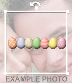 Dekorative Eier Ostern mit diesem kostenlosen Aufkleber feiern auf Ihre Fotos