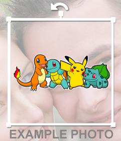 Aufkleber mit vier Pokemons der ersten Generation