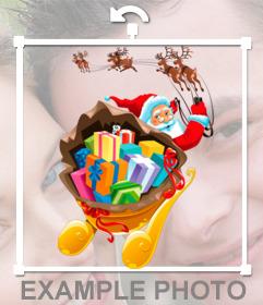 Sticker Weihnachtsmann in Ihre Fotos setzen