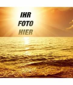 Fotomontage mit einem Sonnenuntergang Hafen, wo eine Schnittfläche oder Bild erscheint in der Mitte der Sonne, das Baden in einem goldenen Glanz einer leichten Seegang