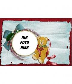 Weihnachtskarte mit Teddybär und Krawatte mit runden Rahmen, in dem Sie Ihr Foto setzen können