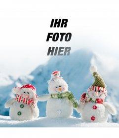 Fotomontage, um das Foto in diesem Bild von drei Schneemänner setzen