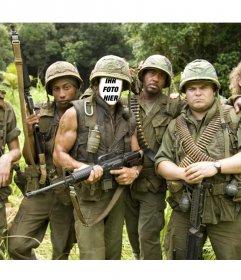 Fotomontage zu setzen Ihr Gesicht auf den Protagonisten von Tropic Thunder