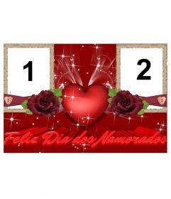 Rahmen für zwei Fotos der Liebe, die Komplimente Valentinstag, Valentinstag. Verwenden Sie diesen Effekt zu einer benutzerdefinierten Karte online und kostenlos zu erstellen