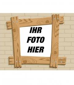 Fotorahmen Holz Cartoon-Effekt, wo Sie Ihre Bilder setzen können