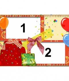 """Carte postale d""""anniversaire avec des ballons et des cadeaux pour deux photos"""